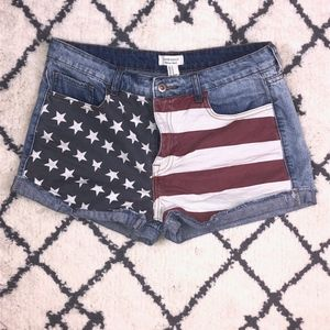 Forever 21 | American Flag 4th of July Jean Shorts